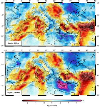 Shear wave velocity at 75 and 100km depth